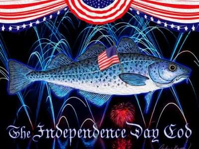 blue cod fish holding an American flag in front of fireworks
