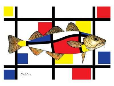 cod fish colored in a primary color grid