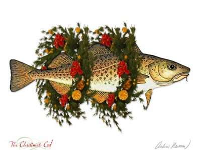 cod fish wrapped in 2 Christmas wreathes