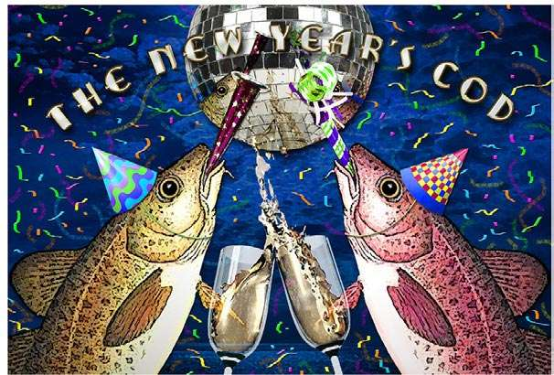 2 cod fish wearing party hats toasting with champagne below a disco ball