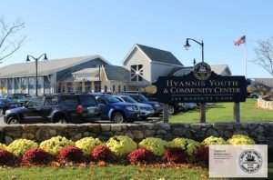 Zoom Background: Looking at sign and entrance of the Hyannis Youth & Community Center