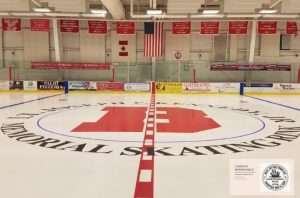 Zoom Background: Center ice at Kennedy Rink with flags hanging