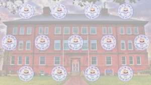 Zoom Background: ghosted image of town hall behind pattern of town seals