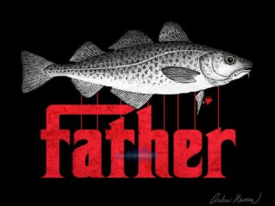 "God Father Movie logo replacing ""God"" and the puppet strings with an image of a codfish"